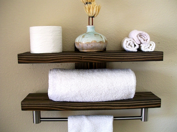Bathroom Shelves Floating Shelves Towel Rack Bathroom Shelf | Etsy
