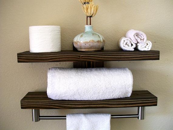 awesome floating bathroom shelves towel | Bathroom Shelves Floating Shelves Towel Rack Bathroom ...