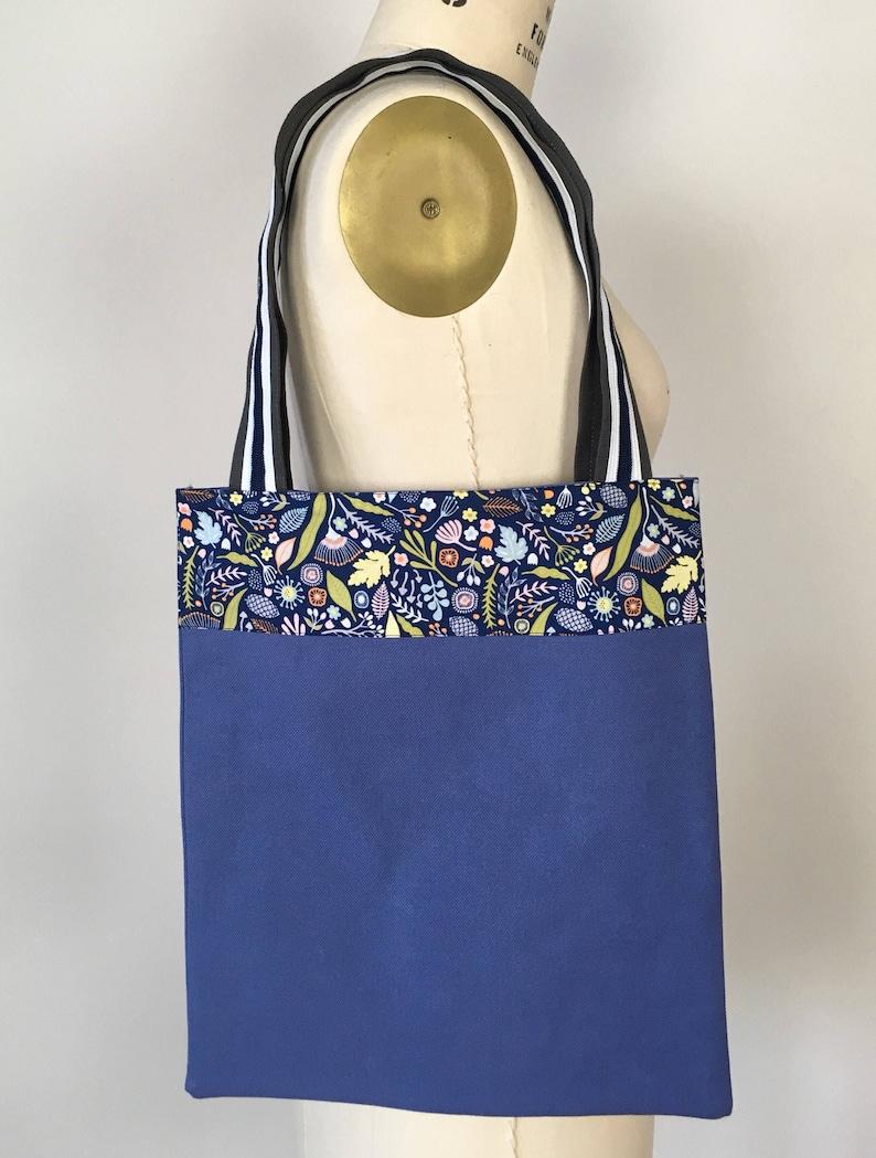 Project Bag Beach Bag Tote Bag Blue and floral trim Market Bag