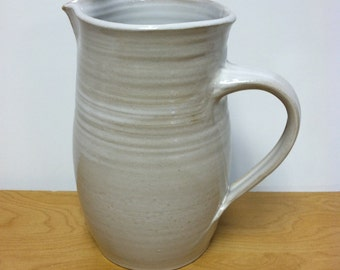 handmade pitcher, white pitcher, pottery pitcher, ceramic pitcher, clay pitcher, water carafe, white