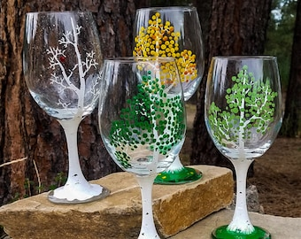 Choose from all 4 Seasons of Aspen from Colorful Colorado, Personalized Wine Glasses