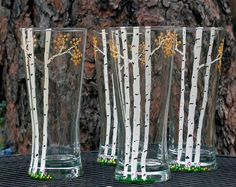 Autumn Aspen Beer Glasses, Personalized, Hand-Painted. Free Shipping
