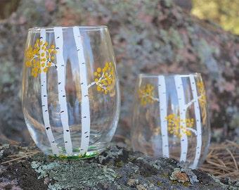 Autumn Aspen Trees Wine Glass, 3 Trunks, Free Shipping