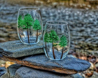 Wine Lover Gift, Pines, Personalized Handpainted Stemmless Wine Glass