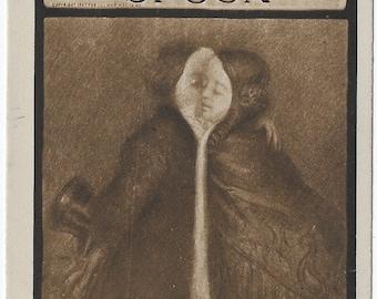 Lovers Kissing view through a spoon Novelty, 1910, Photograver Ullman Postcard