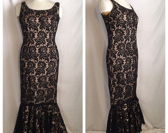 f7c03b0e06a6 Vintage 1960's Black Lace Mermaid Gown