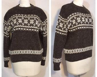 99626e0f94 Vintage 1980 s Men s Pullover Brown Fair Isle Sweater