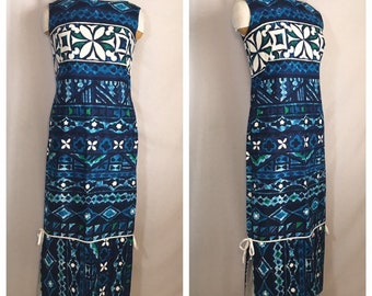 217baeb987b95 Vintage 1960's Long Blue Hawaiian Dress