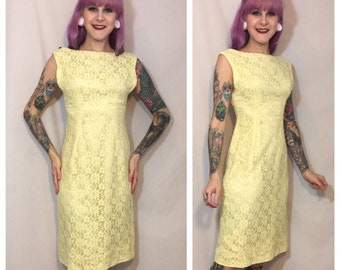 79c705a65f Vintage 1960 s Yellow Lace Dress