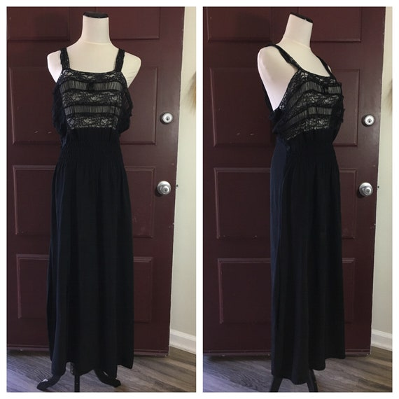 Vintage 1940's Long Black Slip with Lace