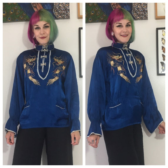 Vintage 1940's Blue Embroidered Dragon Blouse