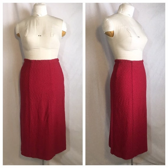 Vintage 1940's Raspberry Colored Wool Skirt