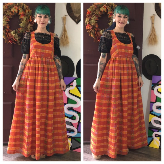 Vintage 1970's Orange Maxi Dress Jumper by Young E