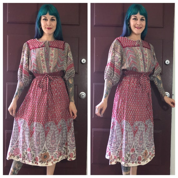 Vintage 1970's Red Paisley Dress with Floral Print