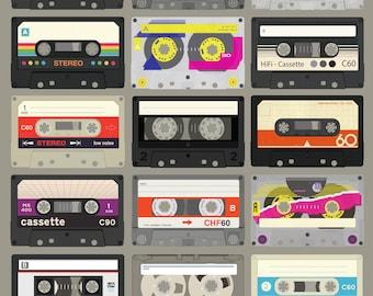 Cassette Tapes Custom Mixtape(11x17 or 13x19) Music Poster