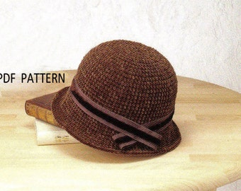 pdf download  crochet  winter hat pattern,chunky cloche hat pattern