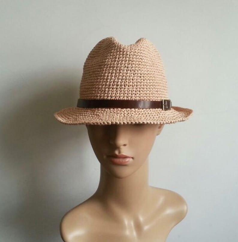 crocheted raffia straw fedora  sun hat,straw fedora hat with leather hat band,men/'s straw sun hat,unisex panama fedora sun hat
