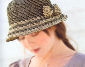 pdf download crochet pattern, raffia straw summer sun hat pattern