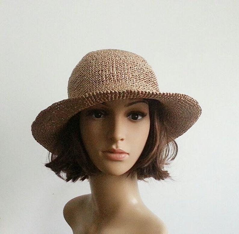 7687a2d2 Crocheted raffia straw sun hat wide brim floppy beach hat | Etsy