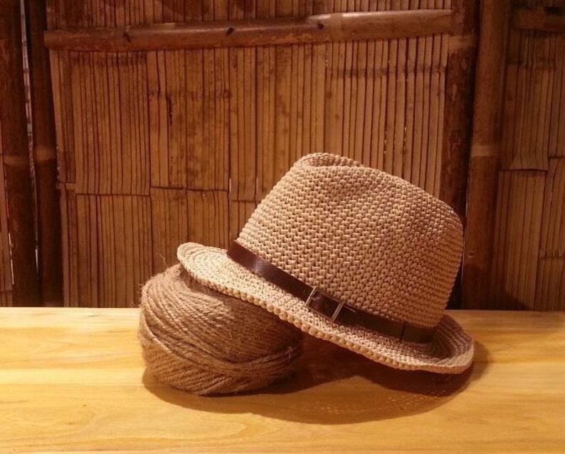 f7d9878d415d80 Crocheted raffia straw fedora sun hatstraw fedora hat with | Etsy