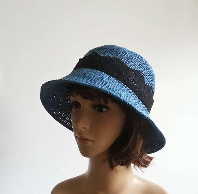 crochet straw sun hat,cloche sun hat