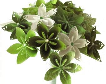 Spring Green Wedding Bouquet, Paper flower bouquet, Origami bouquet