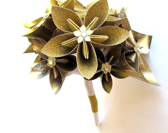 Gold Wedding Bouquet, Bridal Bouquet, Paper flowers, Origami flowers, Paper Bouquet, Gold bouquet,  Gold paper flowers, Paper flower bouquet