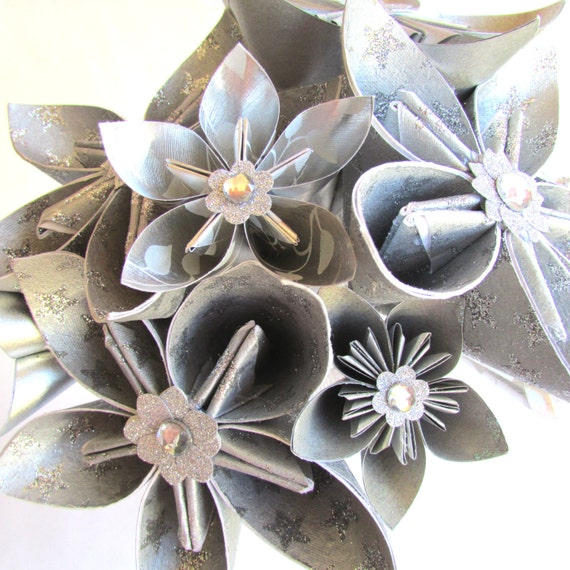 Origami Wedding Flowers: Silver Wedding Bouquet Paper Flower Bouquet Origami