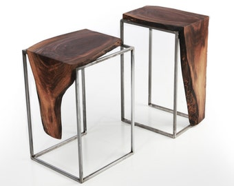 Set of 2 Side Tables - Solid Black Walnut, Live Edge Top with Raw Brushed Metal Base