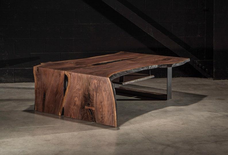 Live Edge Coffee Table, Franklin Table, Walnut Slab Coffee Table