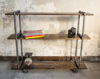 Vintage Industrial Cast Iron Pipe Shelving Unit