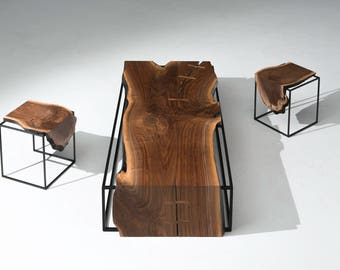 Live Edge Walnut slab Coffee Table, Industrial, Rustic table, Farnsworth Coffee Table