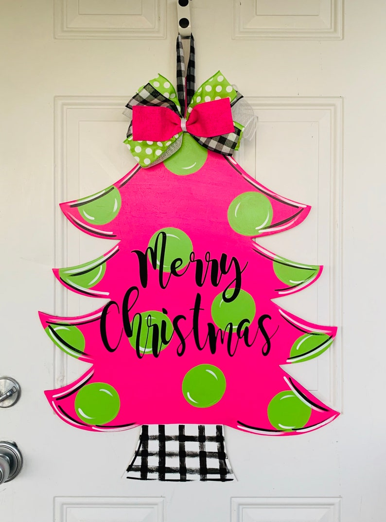 Whimsical Christmas Tree Door Hanger Bright Pink Christmas Etsy