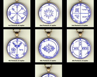 """Pentacles of Jupiter from The Order of the Pentacles, photopendants, 30mm, 24"""" chain"""