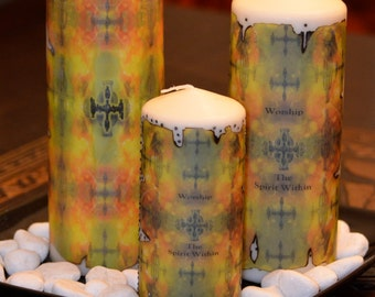 Worship The Spirit Within Wine Candle Yellow Gold & Green with Grape Design by Deprise Designs