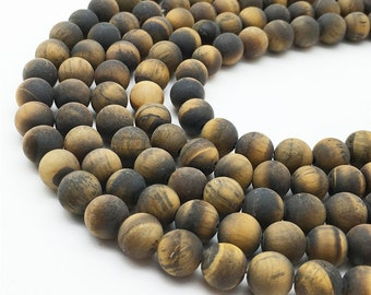 1 Full Strand Matte Tiger Eye Beads , 6mm 8mm 10mm 12mm Round Beads , Gemstone Beads