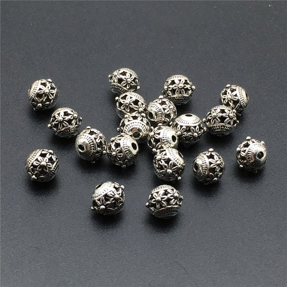 50pcs tibet silver style acrylic spacer ring beads 10mm