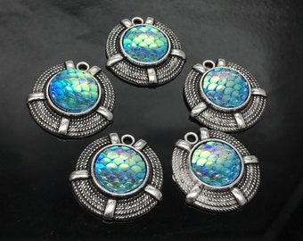 Bulk 20 Antique Silver Round Mermaid Scale Charms ,Fish Scale Light Blue Pendants 23x23mm