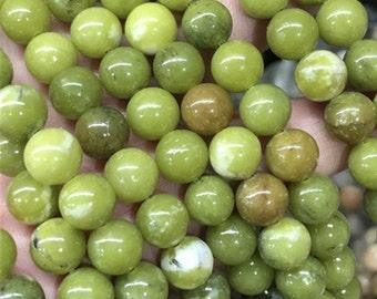 Olive Green Jade Beads , Gemstone Loose Beads  6mm 8mm 10mm 12mm
