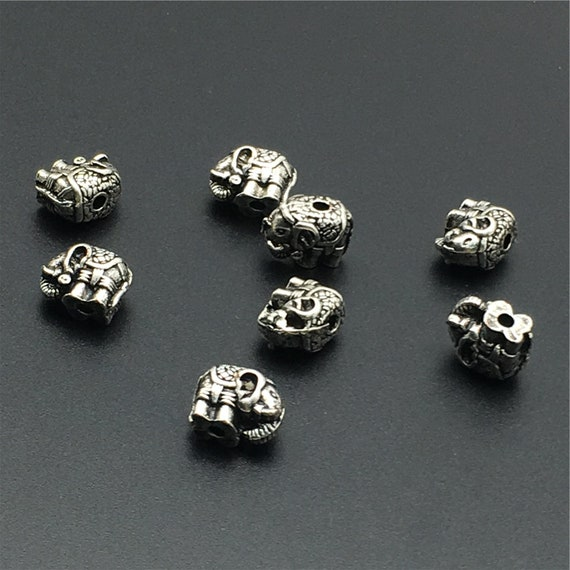 30Pcs Alloy Metal Happy Lucky Elephant Beads Finding