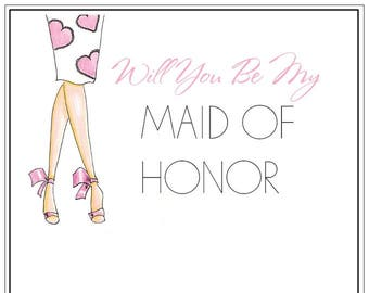 Will You Be My Maid Of Honor | Wedding | Maid Of Honor | Notecards | Stationery | Allie Nicole