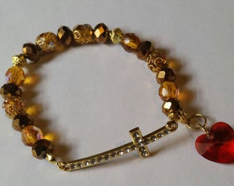 Religious Christian Jewelry Cross Heart Bracelet Religious Jewelry Christian Bling BR1