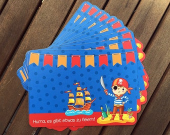 10 Invitation Cards Pirate Party