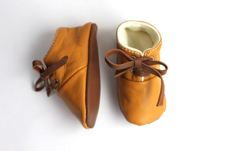 0-3 Months Slippers / Baby Shoes Lamb Leather mustard brown image 0