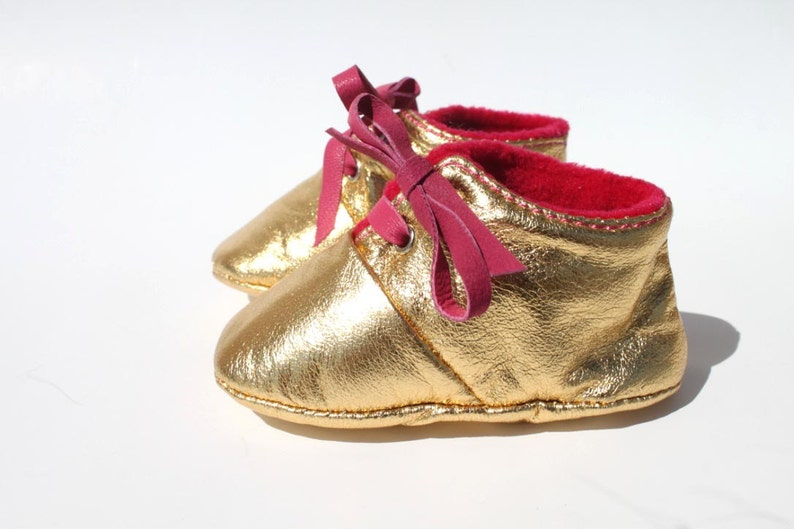 12-18 Months Slippers / Baby Shoes Lamb Leather Glitter Dore image 0