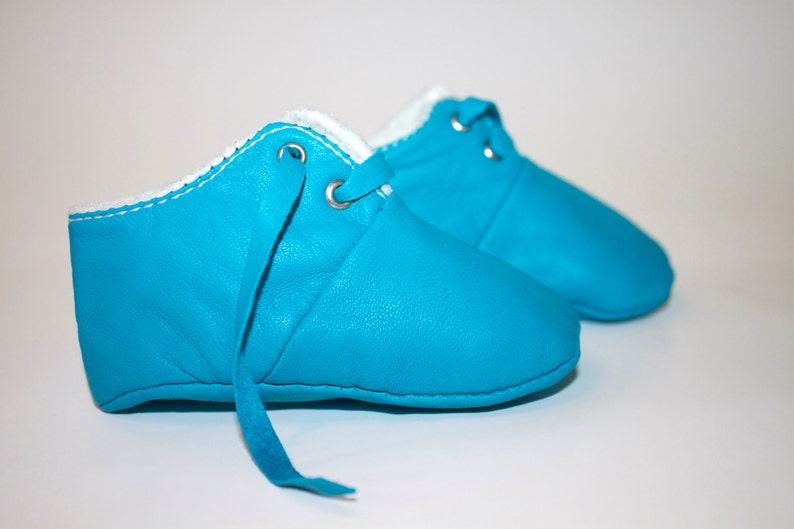 2  3 years Slippers / Baby Shoes Lamb Leather  Blue image 0