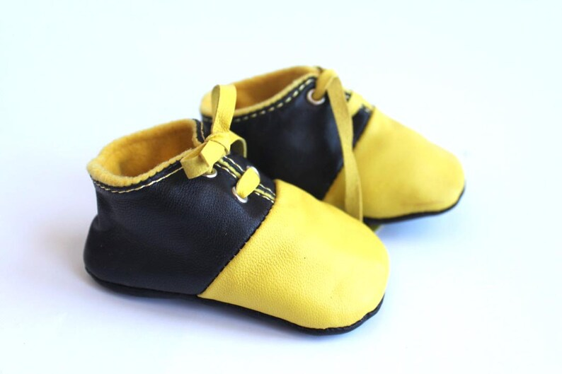 3-6 Months Slippers / Baby Shoes Lamb Leather Yellow and Black image 0