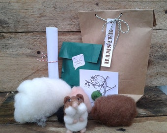 Hamster diy kit, needle felt kit, all you need, toutorial