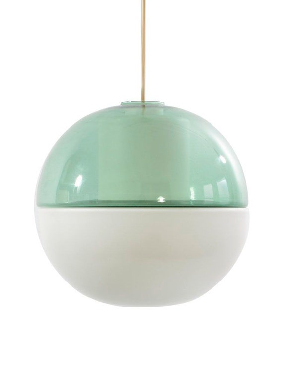Tapio Wirkkala Green Glass Sixties Vintage Hanging Lamp Scandinavian Eames Danish Fifties Scandinavian Jacobsen Henningsen Aalto