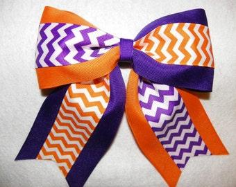 Purple, Orange and White Chevron Print Hairbow